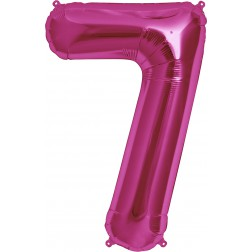 Folienballon Zahl 7 magenta 86cm