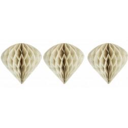 3 Wabenbälle Ornaments Creme 15cm