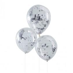 Luftballons mit Konfetti silber 5 Stück