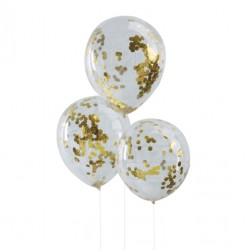 Luftballons dursichtig mit konfetti gold 5 Stück