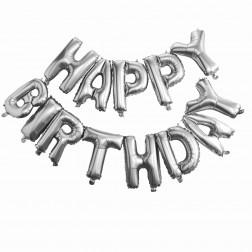 Air Folienballon Happy Birthday silber