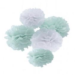 Pom Poms Mint Weiß 5 Stück