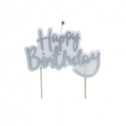 Kerze Glitter Happy Birthday Silver 10cm