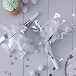 Party Tröten mit Fransen White & Silver 10 Stück