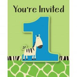 Einladungskarten Wild At One Zebra 8Stück