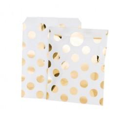 Papier Tüten polka dots gold 8 Stück