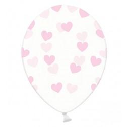 Luftballons Durchsichtig Herz rosa 6 Stück