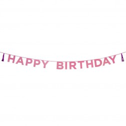 Happy Birthday Banner glitter pink 3m