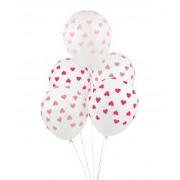Luftballons durchsichtig mit rosa Herzen 5 Stück