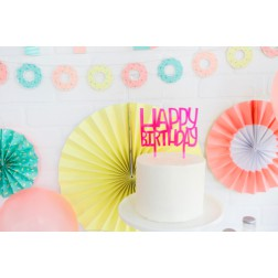 Cake Topper Happy Birthday Neon pink