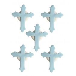 Zuckerdekor Kreuz Blau 5 Stück