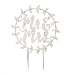 Wooden Mr Mrs Skript Cake Topper Beautiful Botanics