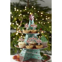 Cupcake Picks Ho Ho Ho, Merry, Cheer, Joy, Jolly, Love. 12 Sticks