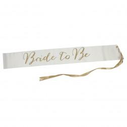 Brautschärpe Bride to Be satin gold