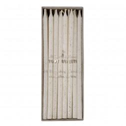 Kerze Weiß Silber 24 Stück 14cm