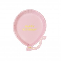 Pappteller Luftballon rosa 12 Stück