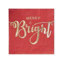 Servietten Merry And Bright Red & Gold 20 Stück
