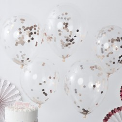 Luftballons Konfetti rosegold 5 Stück