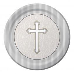Pappteller Erstkommunion Silber 8 Stück