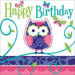 Servietten Happy Birthday Eule 16 Stück