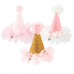 Mini Party Hut rosa, gold, polka dots