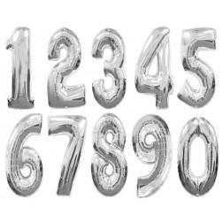 Folien Ballone - Zahlen silber von 0 bis 9