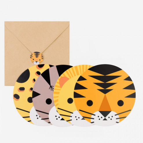Einladungskarten Tiere 8 Stück