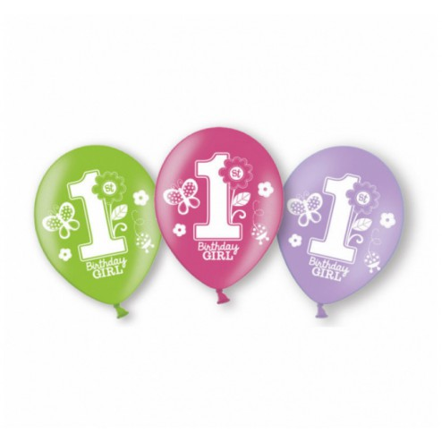 Luftballons 1th Birthday Girl 6 Stück
