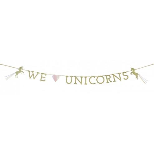 We Love Unicorns Girlande glitzer gold 3m
