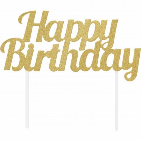 Topper Happy Birthday gold
