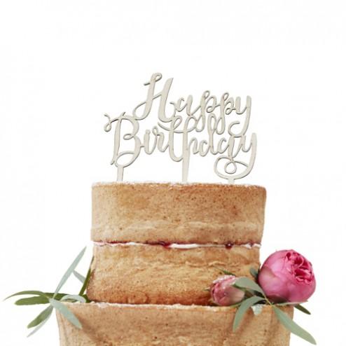 Torten Topper Happy Birthday Holz