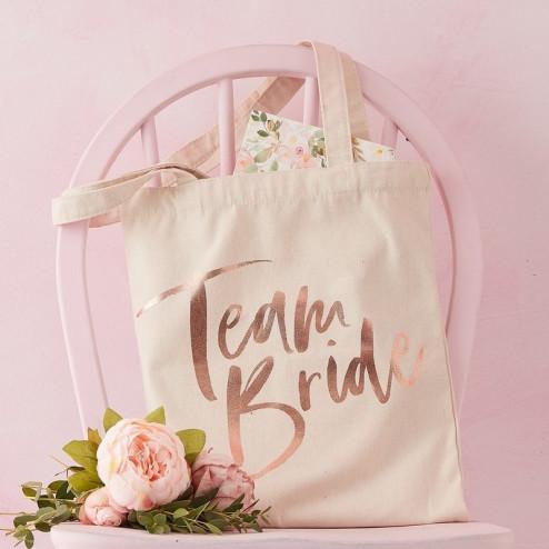 Team Bride Tasche Floral Hen Party Baumwolle