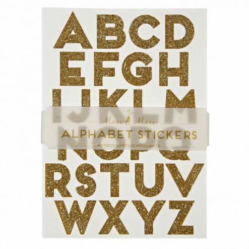 Stickers Alphabet glitzer gold 10 Bögen
