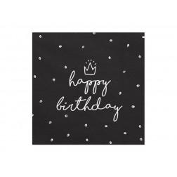 Servietten Happy Birthday schwarz 20 Stück