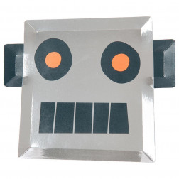 Pappteller Robot 8 Stück