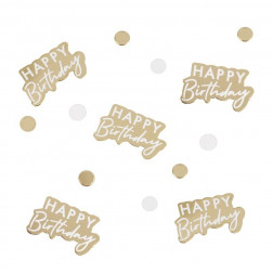 Konfetti Happy Birthday gold weiß 13g
