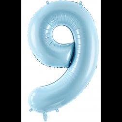 Folienballon Zahl 9 hellblau 86cm