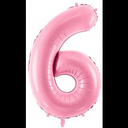 Folienballon Zahl 6 hellrosa 86cm