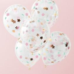 Luftballons Floral Konfetti 5 Stück