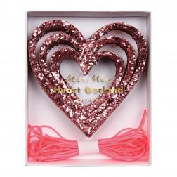 Girlande Herz Pink Glitter 4,25m