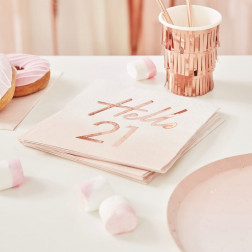 Servietten Hello 21st Birthday Party Rose Gold 16 Stück