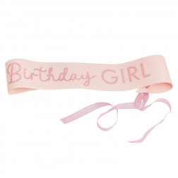 Birthday Girl Sash Pink Glitter
