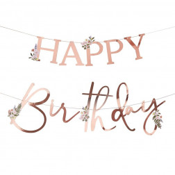 Floral Rose Gold Happy Birthday Banner