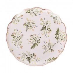 Pappteller Tea Floral Roségold 8 Stück