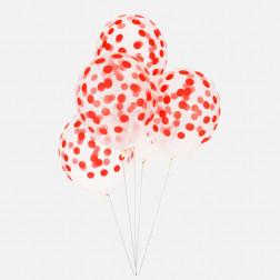 Luftballon durchsichtig mit Punkten rot 5 Stück