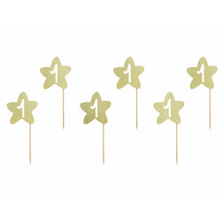 Cupcake Picks 1st Bday gold 6 Stück