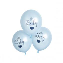 Luftballons oh Baby blau 5 Stück