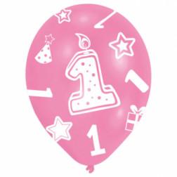 Luftballons 1st Bday Girl 6 Stück