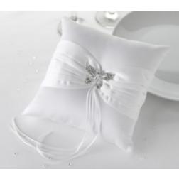 Ring Kissen Schmetterling weiß 18 x 18cm