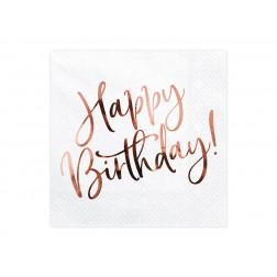 Servietten Happy Birthday rose gold weiß 20 Stück